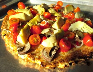 Cauliflower Pizza just out of oven lightened